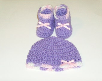 Preemie Lavender Hat and Booties Set - Fits 4 to 6 Pound Baby