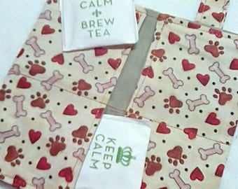 Tea Bag Wallet, Brn PUPPY LOVE, Four Pockets, Handmade, FREE Shipping USa, Holds Tea & Sweetener - Also Travel Jewelry Wallet