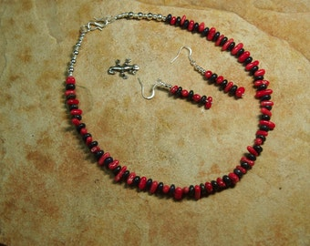 Natural Egyptain Lapis Lazuli, AAA Grade Untreated Quality Red Coral,.925 Silver Necklace and Earrings