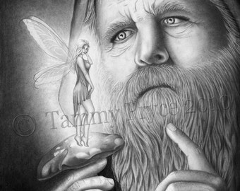 """Wizard with Fairy Pencil Drawing 8x10"""" Fantasy Fine Art Print"""