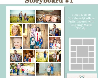 INSTANT DOWNLOAD - 16x20 Storyboard Collection 2, Collage 1 - custom 16x20 and 8x10 photo collage/storyboard template for photographers
