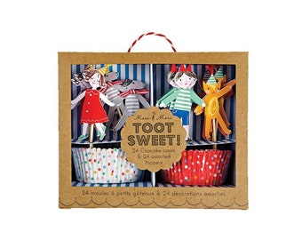 Toot Sweet Children's Cupcake Kit, Kids, Birthday, Theme, Party, Baking, Supplies, Meri Meri
