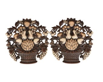 Fruit and Flower Syroco Wall Hangings - Set of 2 Matching Mid Century Basket Wall Plaques in Neutral Wood Tones