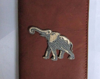 Dark Brown Leather Elephant Embroidery Mini Address Book Case, Small Leather Address Book