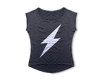 Lightning Bolt T Shirt - Women's T Shirt - Retro Dolman Tri-Blend Vintage Tee - Women's Fashion