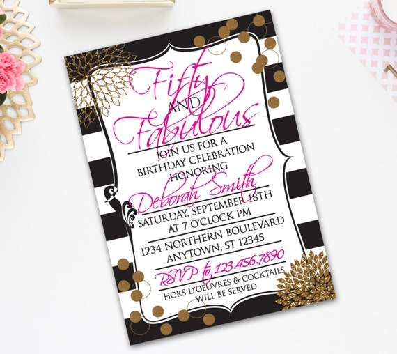 50th BIRTHDAY INVITATION FIFTY And Fabulous Theme Gold