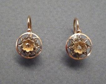 14K Rose Diamond Star Earrings -sleepers/load thru back