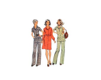 1970s Vintage Sewing Pattern - Simplicity 5735 - Shirt Dress Button up Blouse