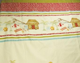 "Vintage Tropical Beach Shower Curtain, Fabric, Ocean Bathroom Decor, Bathroom Accessories 70"" x 74"""
