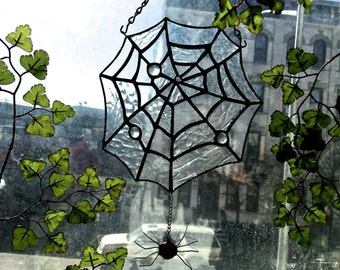 Natural Spider's Web - Stained Glass - Handmade