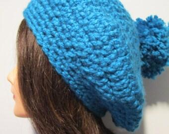 Slouchy crochet beanie with pom pom, chunky crochet hat, winter hat