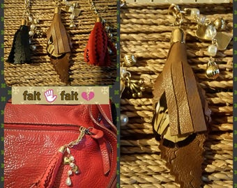 3 jewelry bags, tassels leather & beads