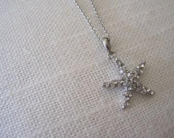 Starfish necklace - Small Starfish Necklace - Rhinestone Starfish Necklace - Beach Wedding
