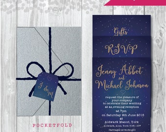 Pocketfold Wedding Invitation -  Constellation Design - Pocketfold Stationery