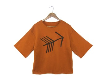 Tribal Arrow Easy Sweater - Boxy Drop Sleeve Top, Oversized Arrow Sweatshirt, Fleece Cropped Shirt in Burnt Orange - Women's Size S-4XL