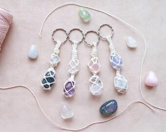 Custom hemp string wrapped crystal keychains/accessories ~ high quality gemstones