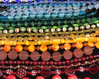 Magnificent Rainbow Bead Lot - 21 Strands
