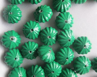 Green Fluted Acrylic Beads 14x8mm 10 Beads