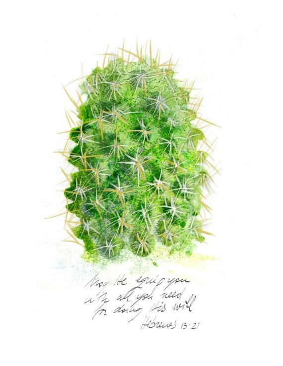 Inspirational christian art: Mammillaria Cactus illustration with bible verse