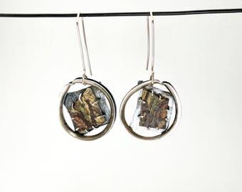 Funky imperial jasper circle earrings