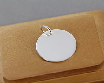 5 Stamping Blanks Sterling Silver 1 inch 18 Gauge Wholesale - Polished Circle Round Blank - 24 mm