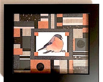 Intricate and Textured Black, Orange, Charcoal Gray and White Paper Robin Collage Art (with Frame)