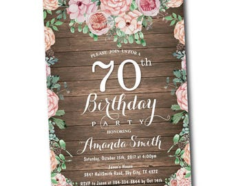 70th Birthday Invitation for Women. Floral Birthday Party Invitation. Rustic Bday Invite. Boho Flower. 30th 40th 50th 60th 80th 90th Any Age