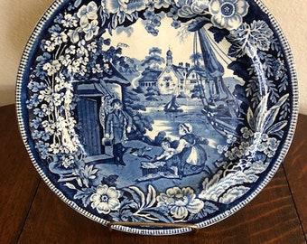Antique Blue and White Staffordshire Plate , Fisherman's Hut Pattern.  No Maker's Mark.