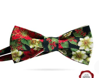 Christmas bow tie - Christmas holly - bowtie - gift for him