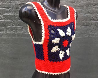 Vintage 70s Crocheted Red White and Blue Granny Vest   small extra small