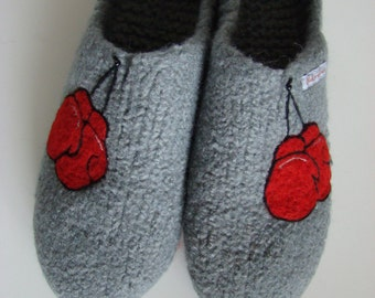 Super warm, thick Boxer of felt clogs with boxing gloves, slippers