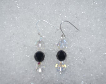 Swarovski Crystal AB and Jet earrings