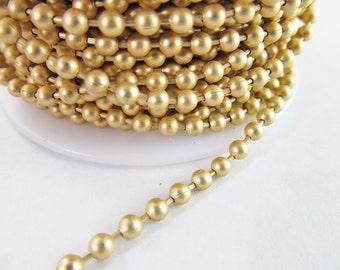 2 Ft 3.2 mm Matte Gold Plated Brass Ball Chain Ch170