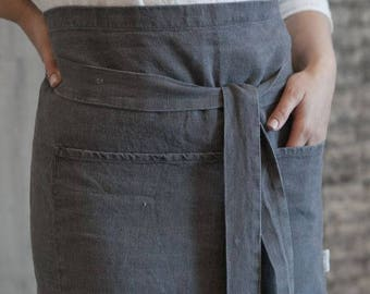 Gray Linen Apron Chef Half Apron Country Style Eco Chic Decor One Size Apron Hostess Gift Durable Prewashed Linen Apron with Pockets