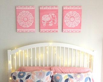 Mandala, 3 Piece Set, Pink, White, Mandala Wall Art, Elephant, Boho, Mandala Acrylic Painting, Elephant Wall Art, Namaste
