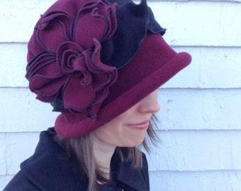 Polar Fleece Ladies Hat - Flapper Cloche- Vintage Style - Burgundy - Charlotte
