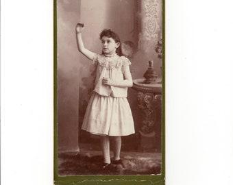 Interesting pose, antique cabinet card photo