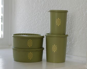 Set of 4 avocado green Tupperware