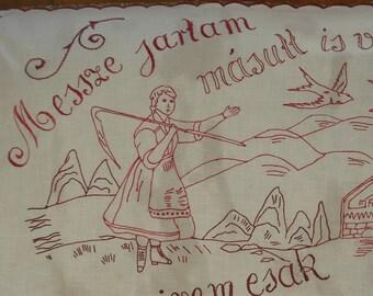 Redwork Linen