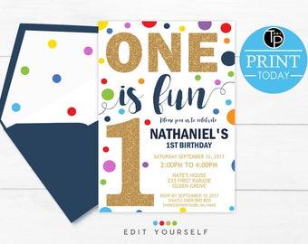 Confetti BOY 1st Birthday INVITATION, Confetti 1st Birthday Invitation, Boy First Birthday Invitation, Instant download, primary color, 0224