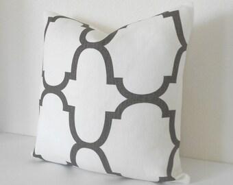 Brown quatrefoil designer pillow cover, Windsor Smith for Kravet,  Clove brown riad pillow