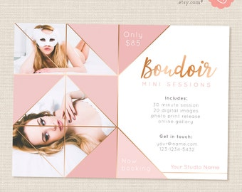 Boudoir Marketing Template, Pink, Copper, Mini Session Template, Boudoir Photography, Triangle photo collage, Triangles, Photoshop PSD