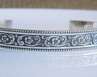 Sterling Silver Cuff Bracelet - Antiqued Flowers and Scrollwork  - Solid Sterling 925 - 1/3 Inch Wide