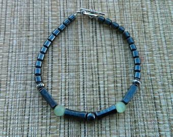 Hematite and Green Cat Eye Beads Bracelet, Beaded Bracelet, Hematite Bracelet