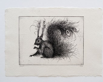 Fluffy Squirrel Etching, original handmade art print (squirrel art print, squirrel wall art, squirrel illustrion, squirrel print, line art)
