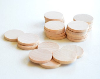 """25 Unfinished Wooden Circles 1"""" -Small Wooden Circles -Wooden Circles Supplies -Natural Wood Circles -Wood Circles Beads"""