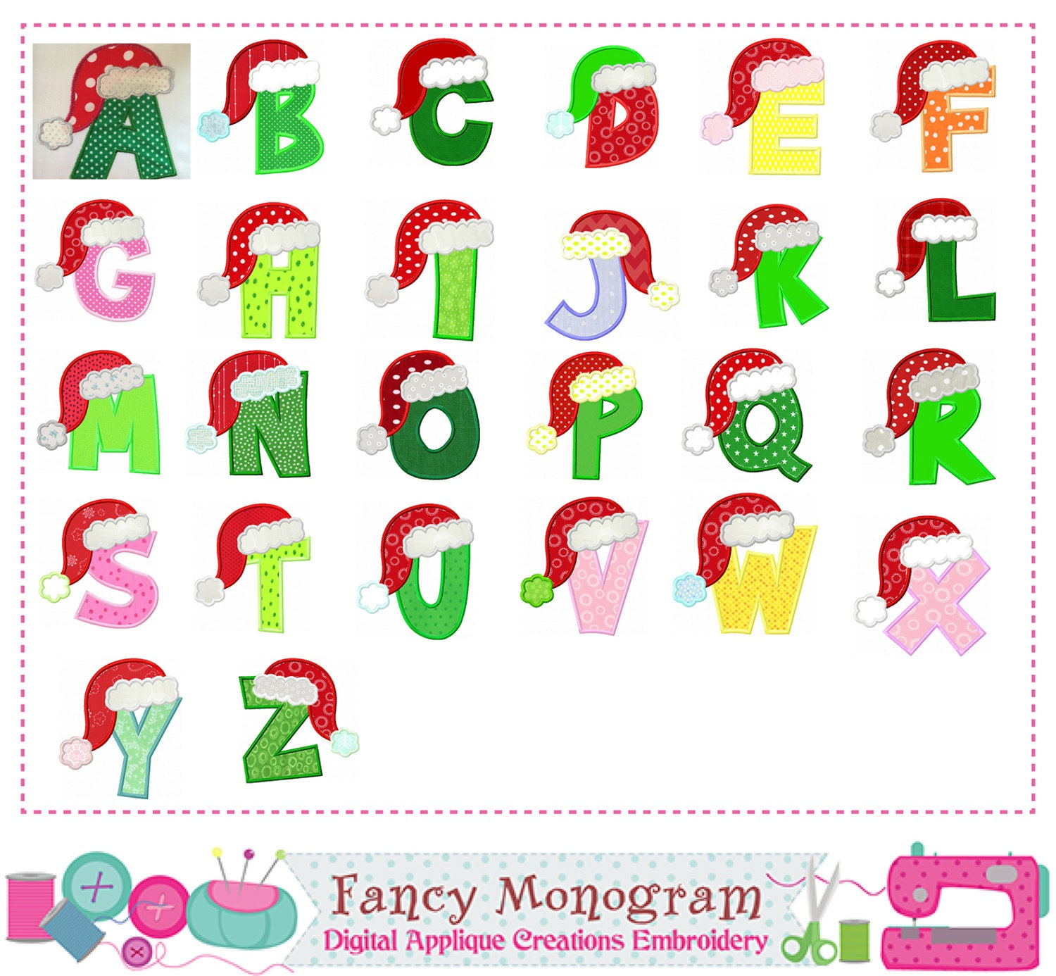 Christmas Letters AppliqueSanta Claus Monograms AppliqueChristmas