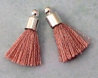 Tiny Silky Tassel Charm, Blush, Silver Cap, 17 MM, 2 Pieces, AS383