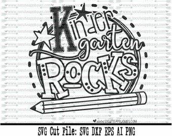 Back to school SVG, Kindergarten rocks svg, school svg, kindergarten svg, kinder rocks svg, teacher svg, school svg, socuteappliques