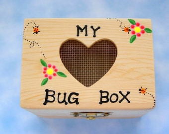 SHIPS FREE-DIY science kit wooden heart bug box toy personalize bug collecting camping outdoor car trip children adventure game entomology